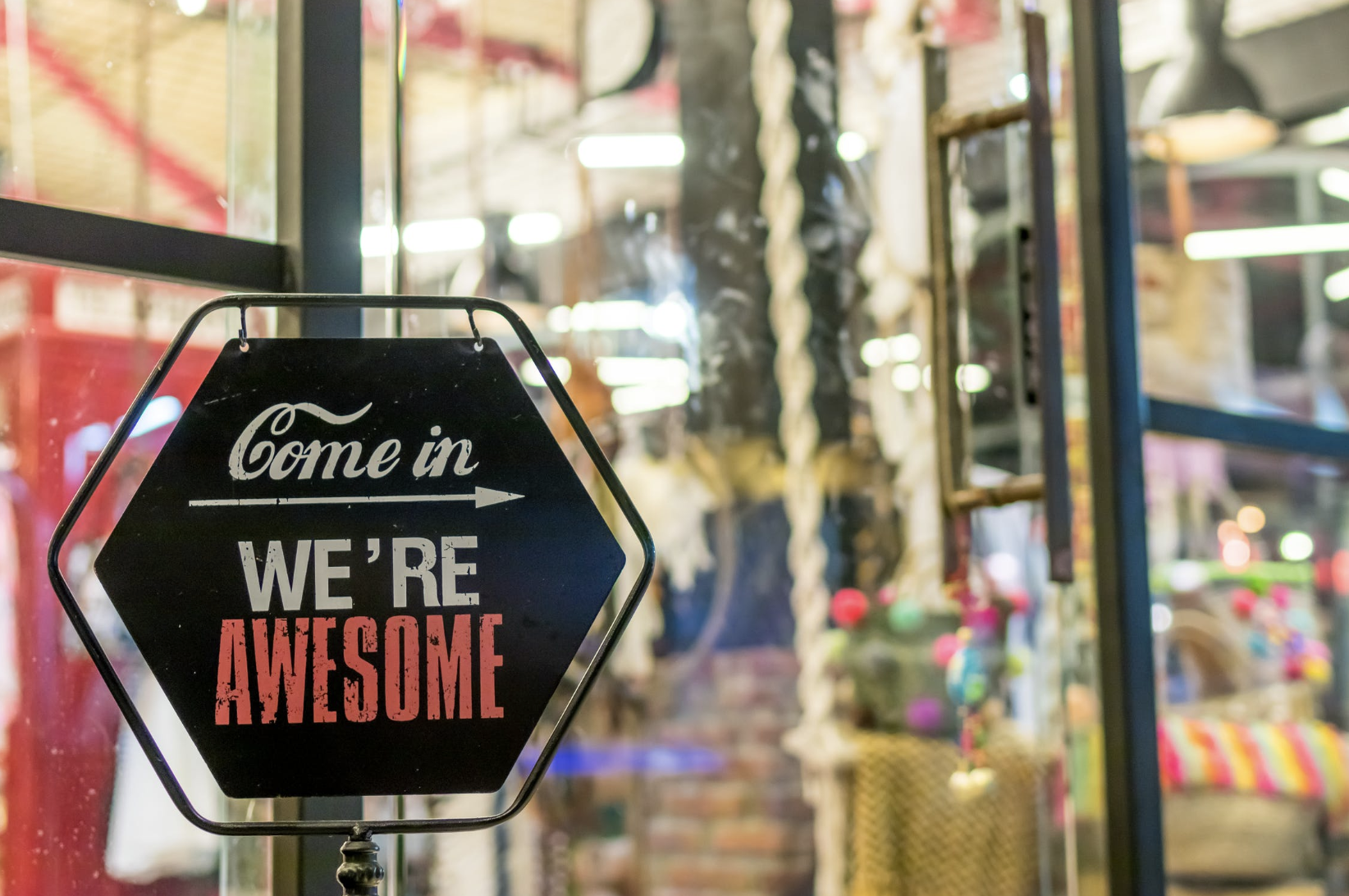come-in-were-awesome-sign