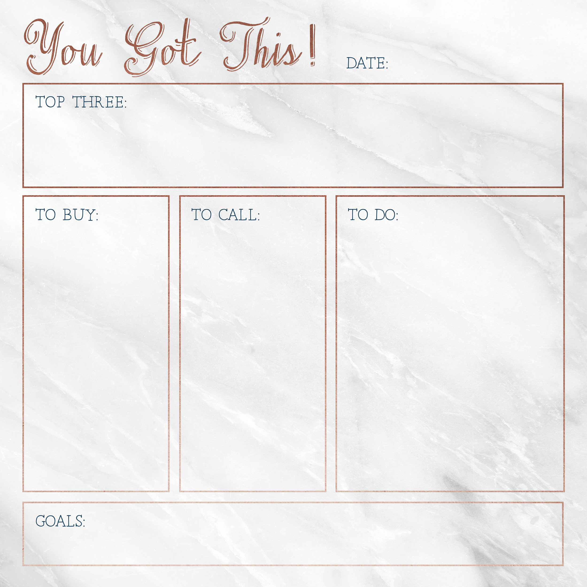 You Got This!   Workspace dry erase board with marble background and rose gold and dark blue accents.