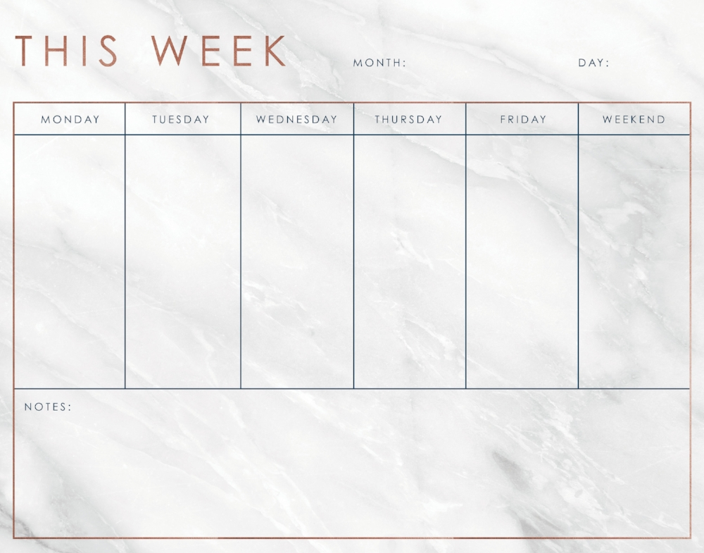 This Week   Weekly workspace dry erase board with marble background and rose gold and dark blue accents. Consumer can fill in the month, day and notes for every day or that week. Usable all year round!