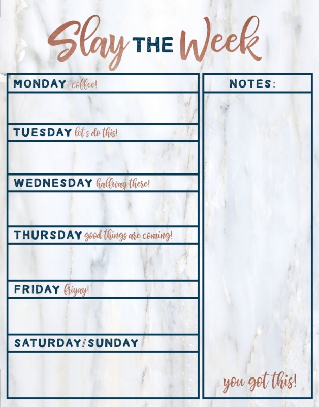 Slay the Week!   Motivational weekly workspace dry erase board with marble background and rose gold and dark blue accents.