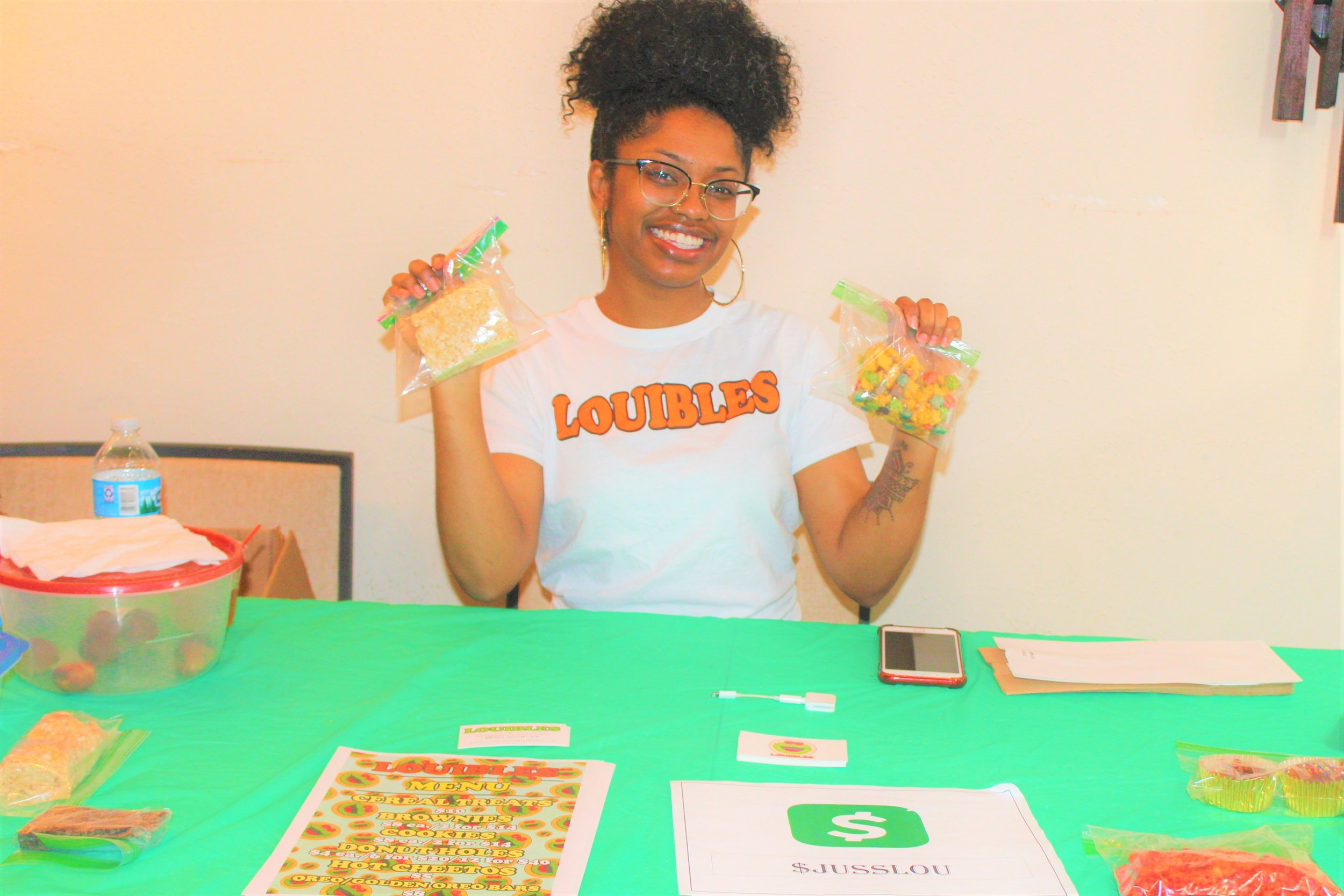 @Louibles , a company featuring homemade baked good filled with marijuana was one of the vendors at Authenticity's live taping.  Photo Credit:  Danielle Brown
