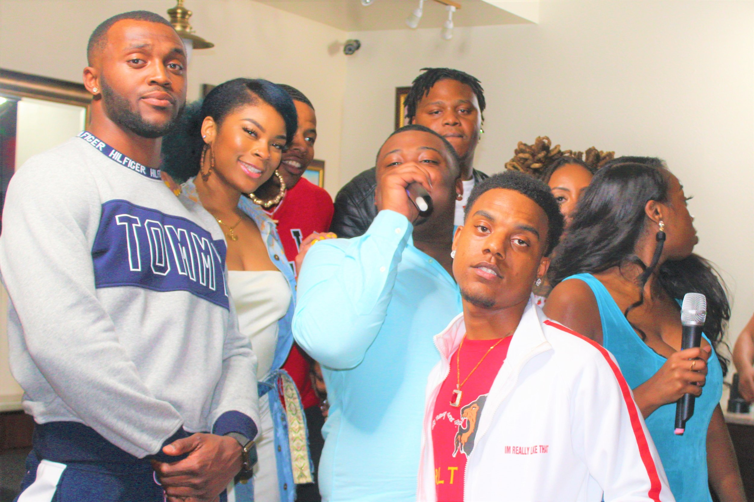The Cast of Authenticity, From Left to Right: Storey, Quita, Willie, Shon, Key and Lonette pose for a photo op with some of their guests from the live show.  Photo Credit:  Danielle Brown