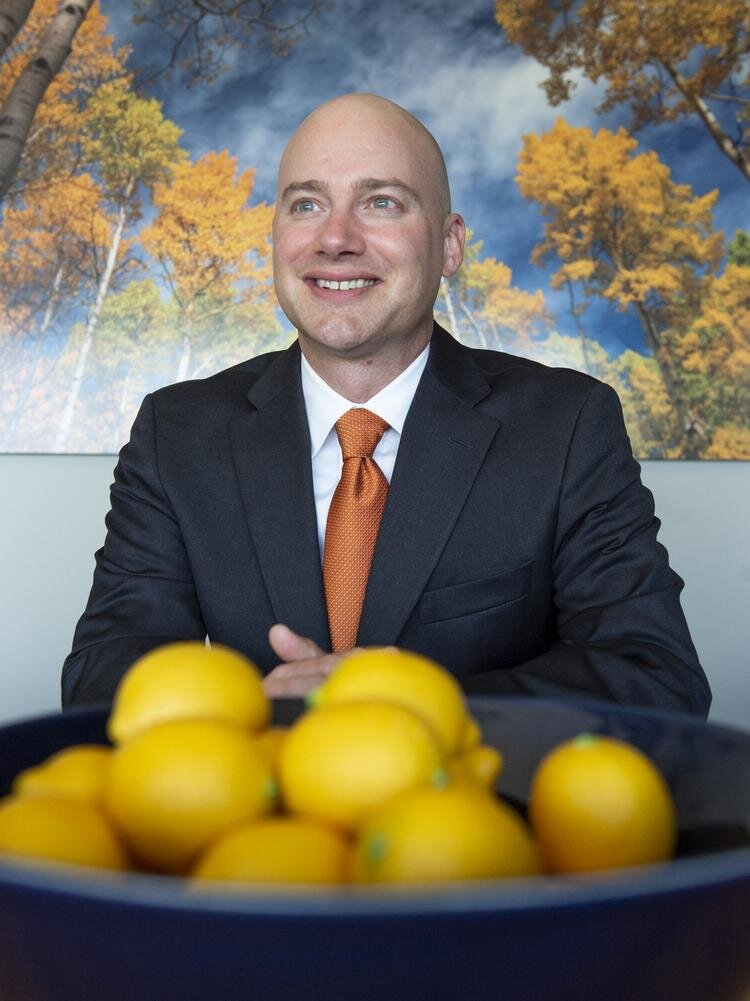 Eric Walters, managing partner, founder of SilverCrest Wealth Planning. Walters had an interior designer suggest calming colors, a round table, a focal point on the table (lemons) and art that features nature makes clients more comfortable.  KATHLEEN LAVINE, DENVER BUSINESS JOURNAL