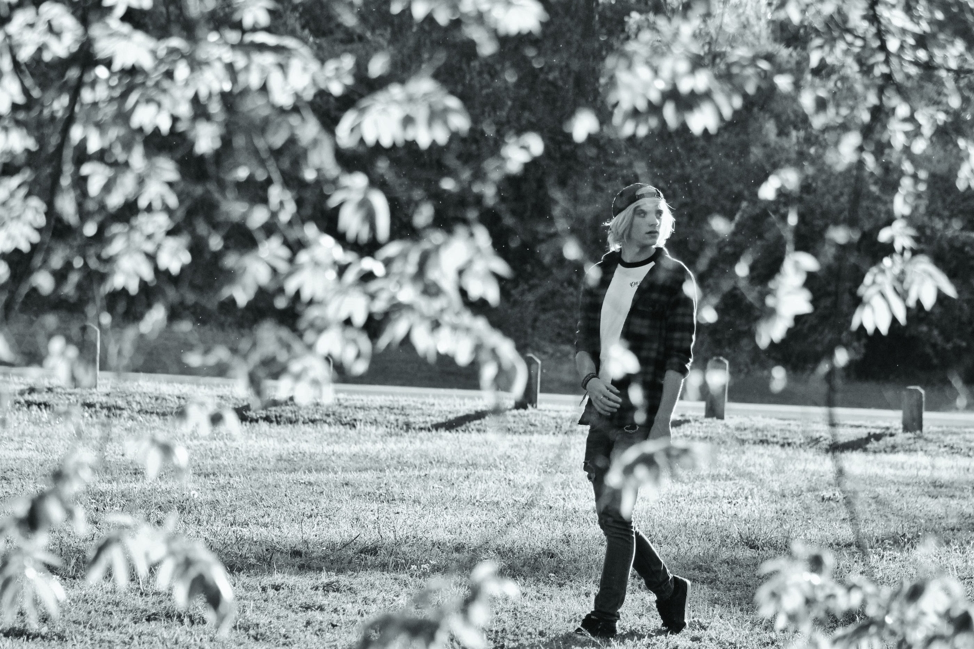 picture taken through trees of young man walking in park