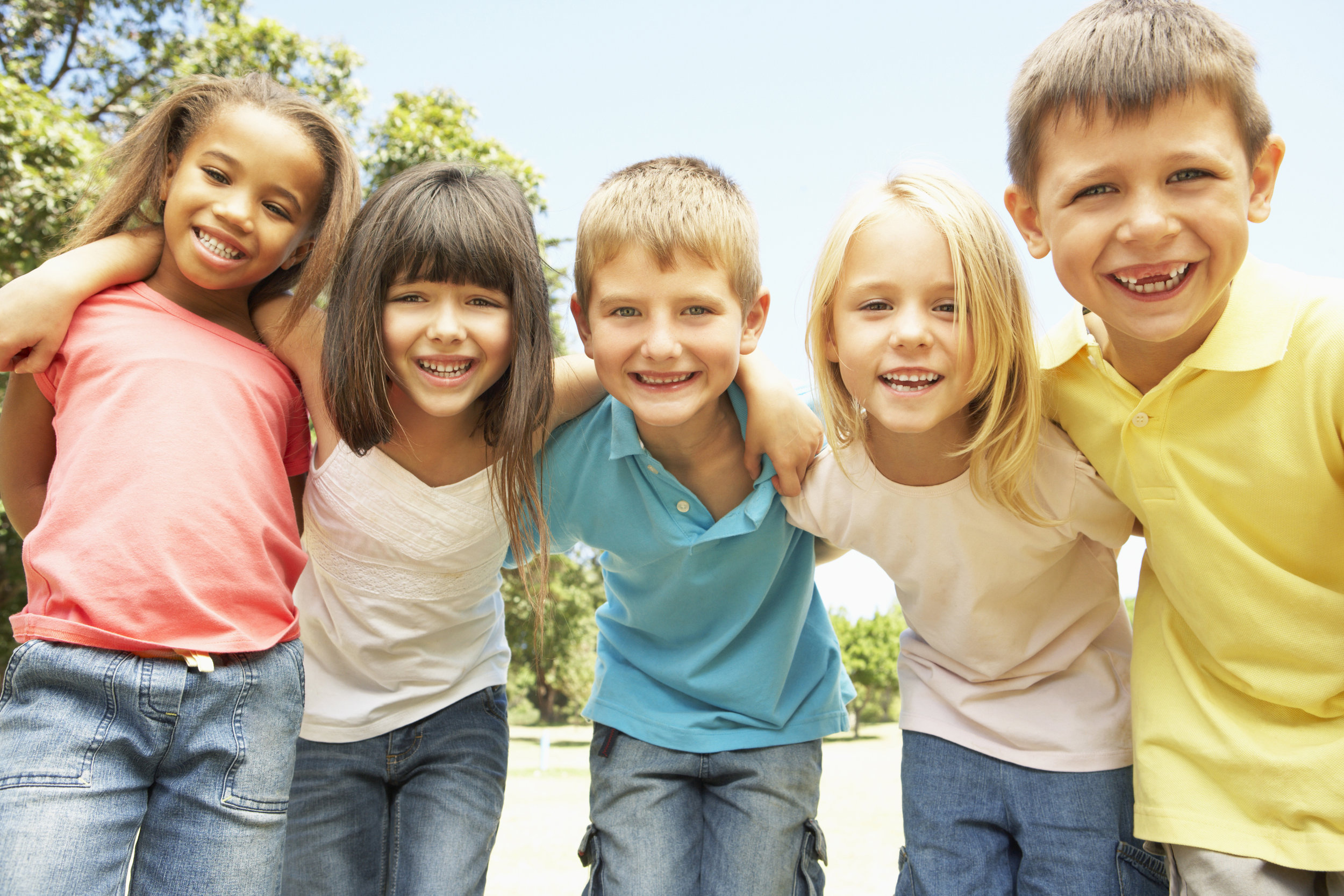 Smiling group of mixed children
