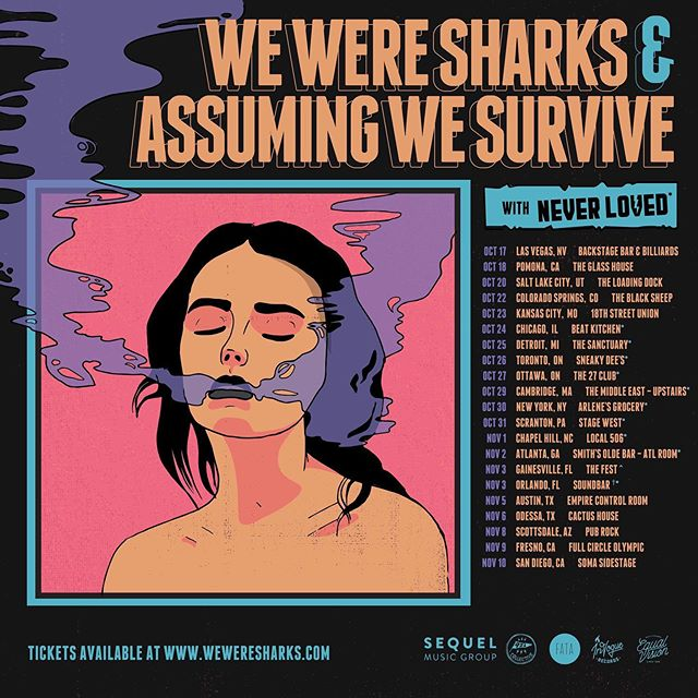 Hitting the road this fall w/ @assumingwesurvive & @weweresharksband (10/24-11/3) tix link in bio 🍁 . . 🖌📝: @sofdoesgraphics