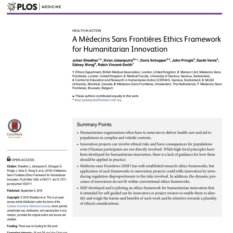 MSF ethics framework
