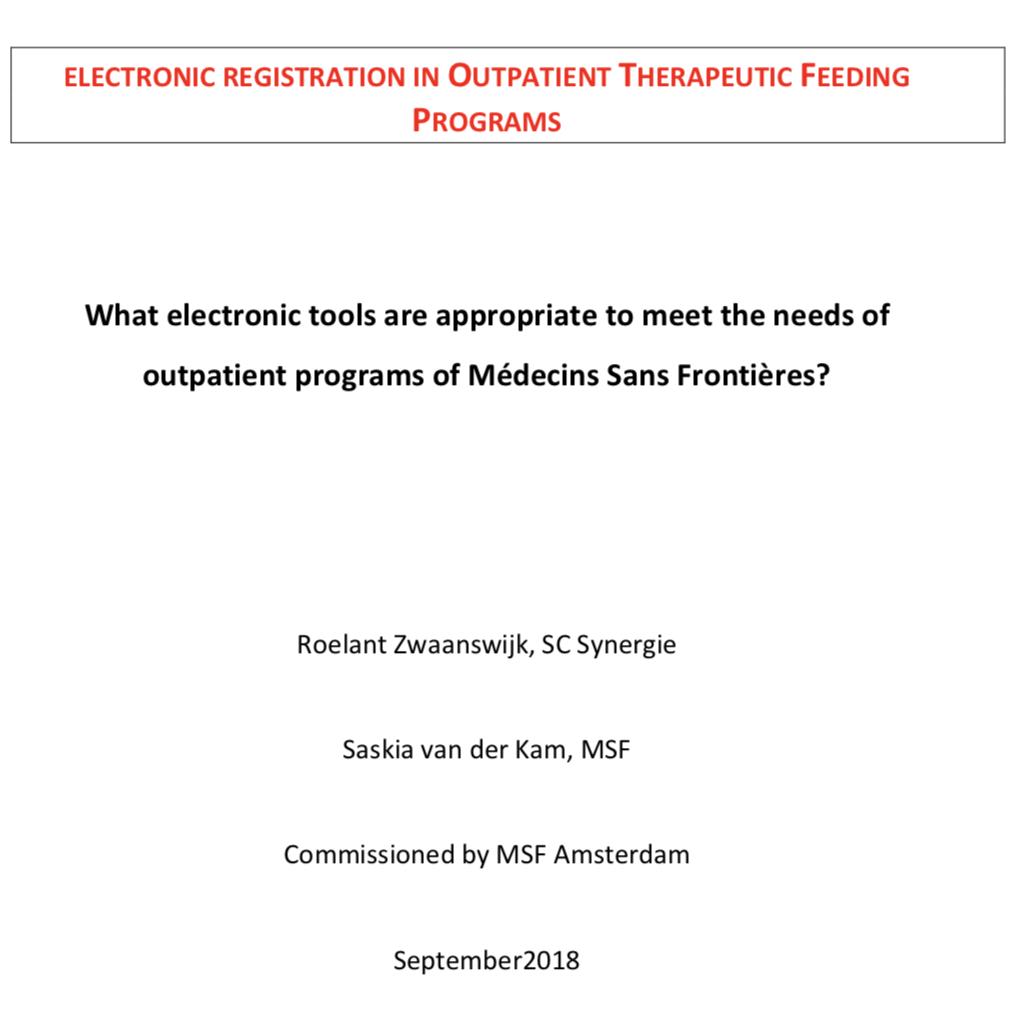 Electronic outpatient therapeutic feeding tools