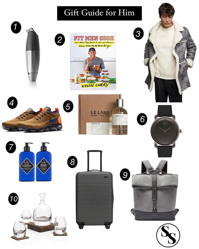Our Savvy Gift Guide for Him is now love on the blog! Click the link in our bio to read more about these great gift ideas for that special guy in your life! #GiftGuide #SavvySettingsHome #Zara #Nike #Bevel #Lelabo #AwayLuggage #JackBlack #FitMenCook #Movado #tedbakerlondon