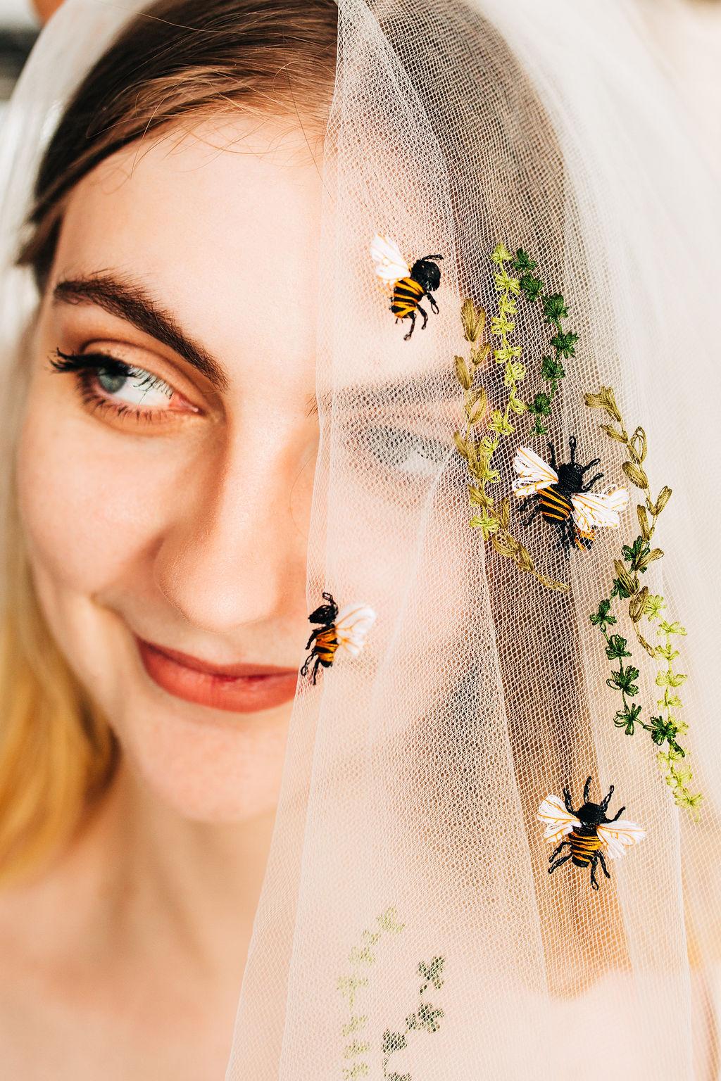 Ink & Thimble // Rachel Burgess Bridal Boutique - Bees, blossoms, & Stars Veils