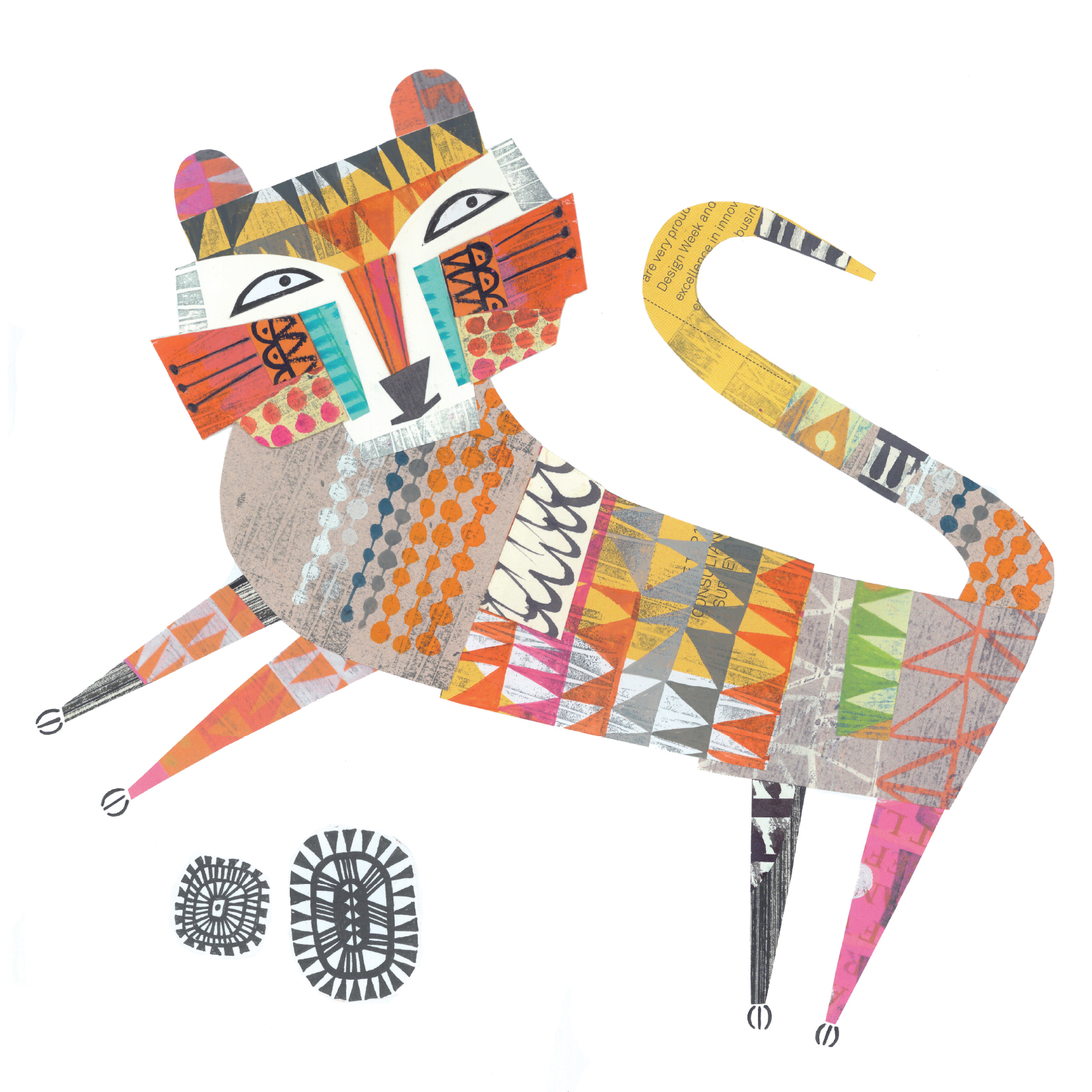 dancing tiger   SHOP    mixed media collage, available as a giclee print