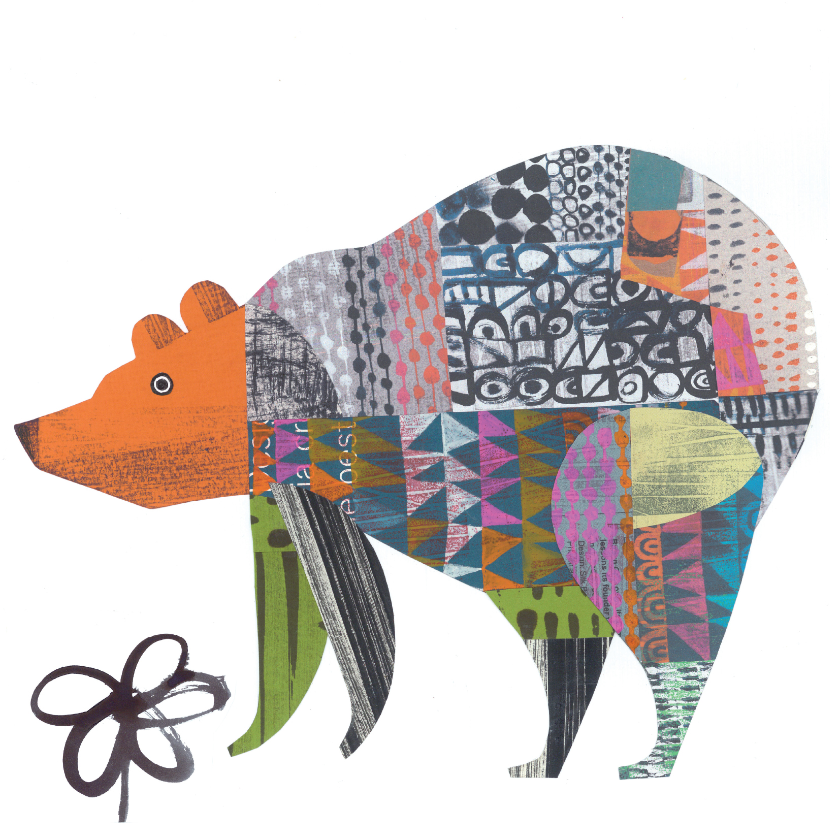friendly bear     SHOP    mixed media collage, available as a giclee print