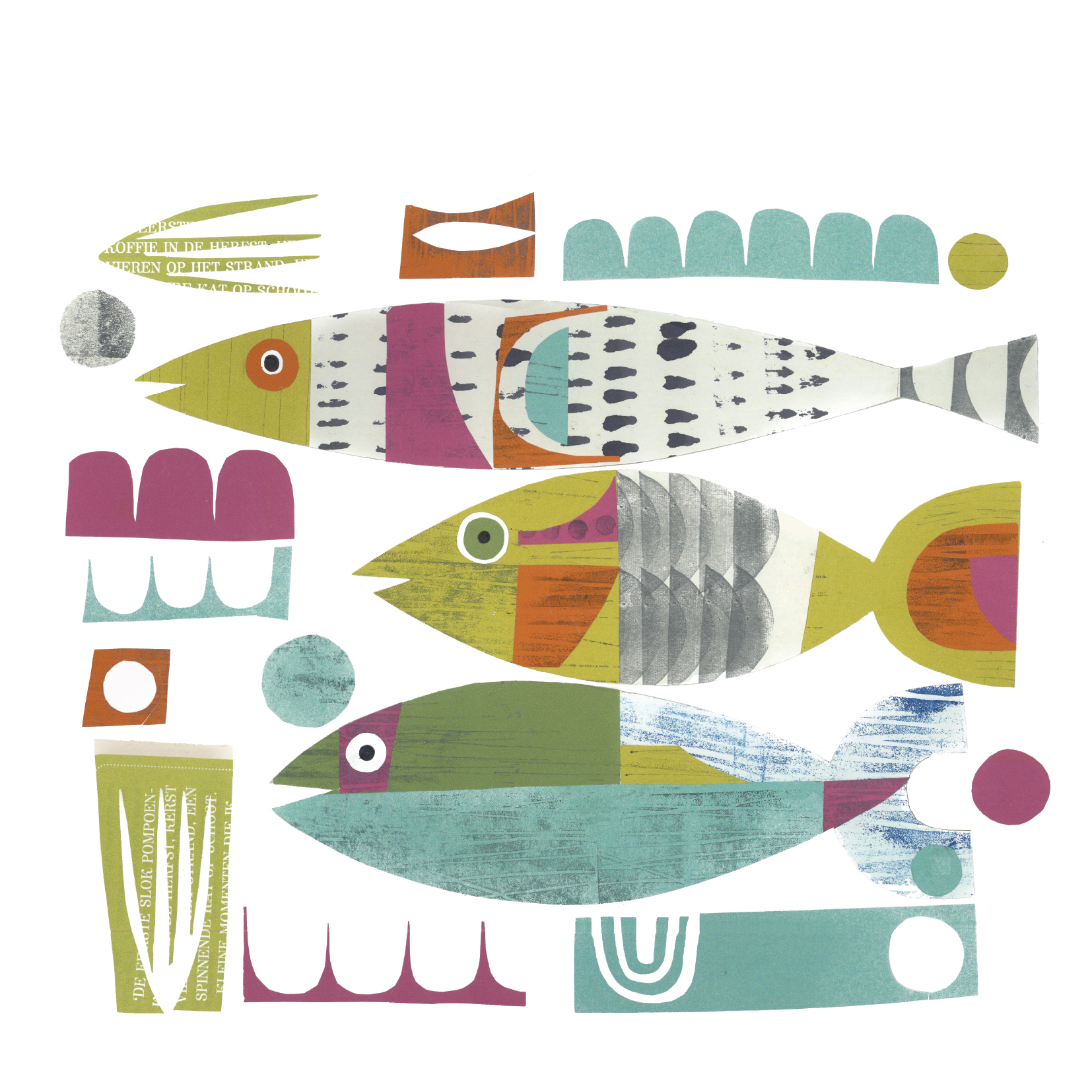 swim fish swim       SHOP    mixed media collage, available as a giclee print