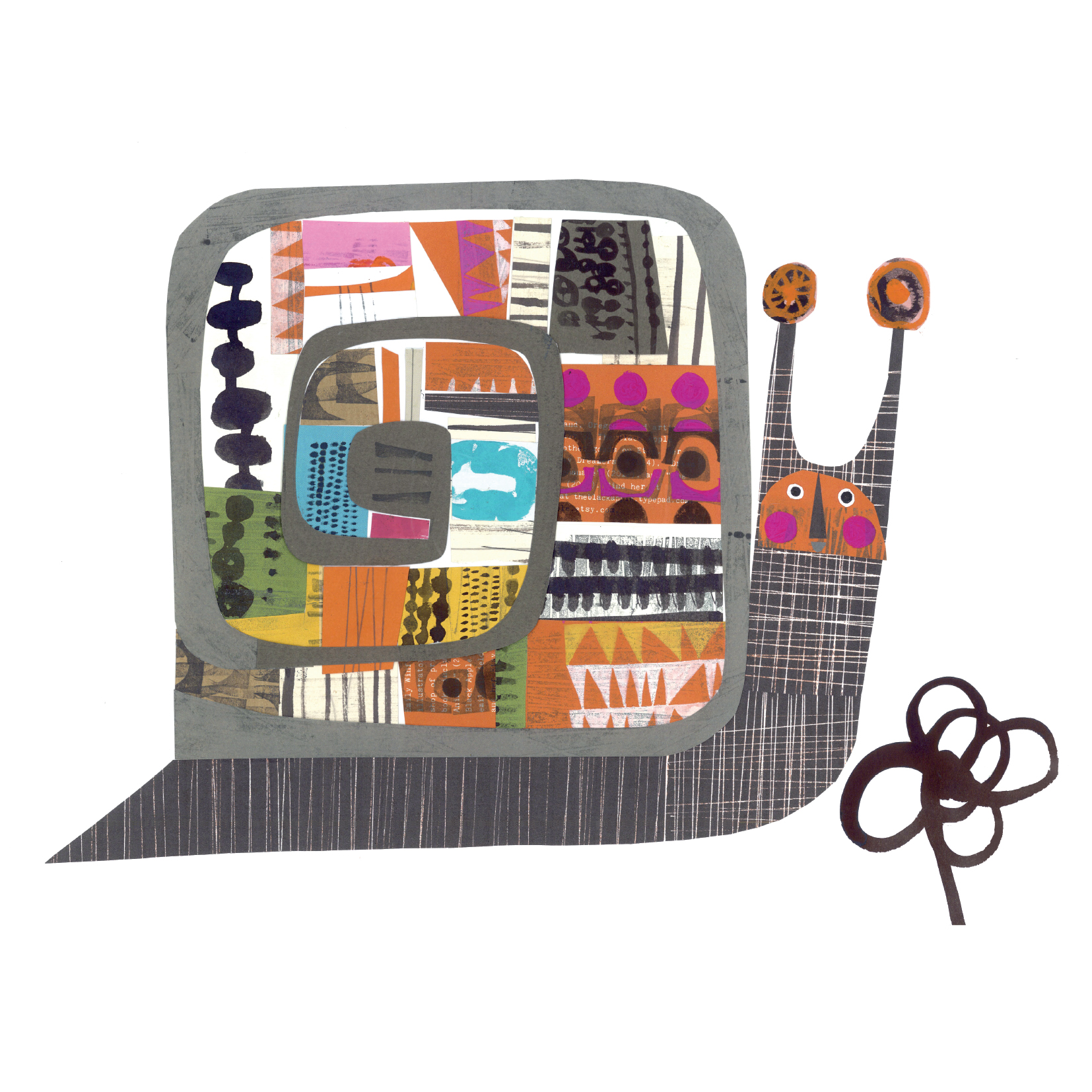 snail     SHOP    mixed media collage, available as a giclee print