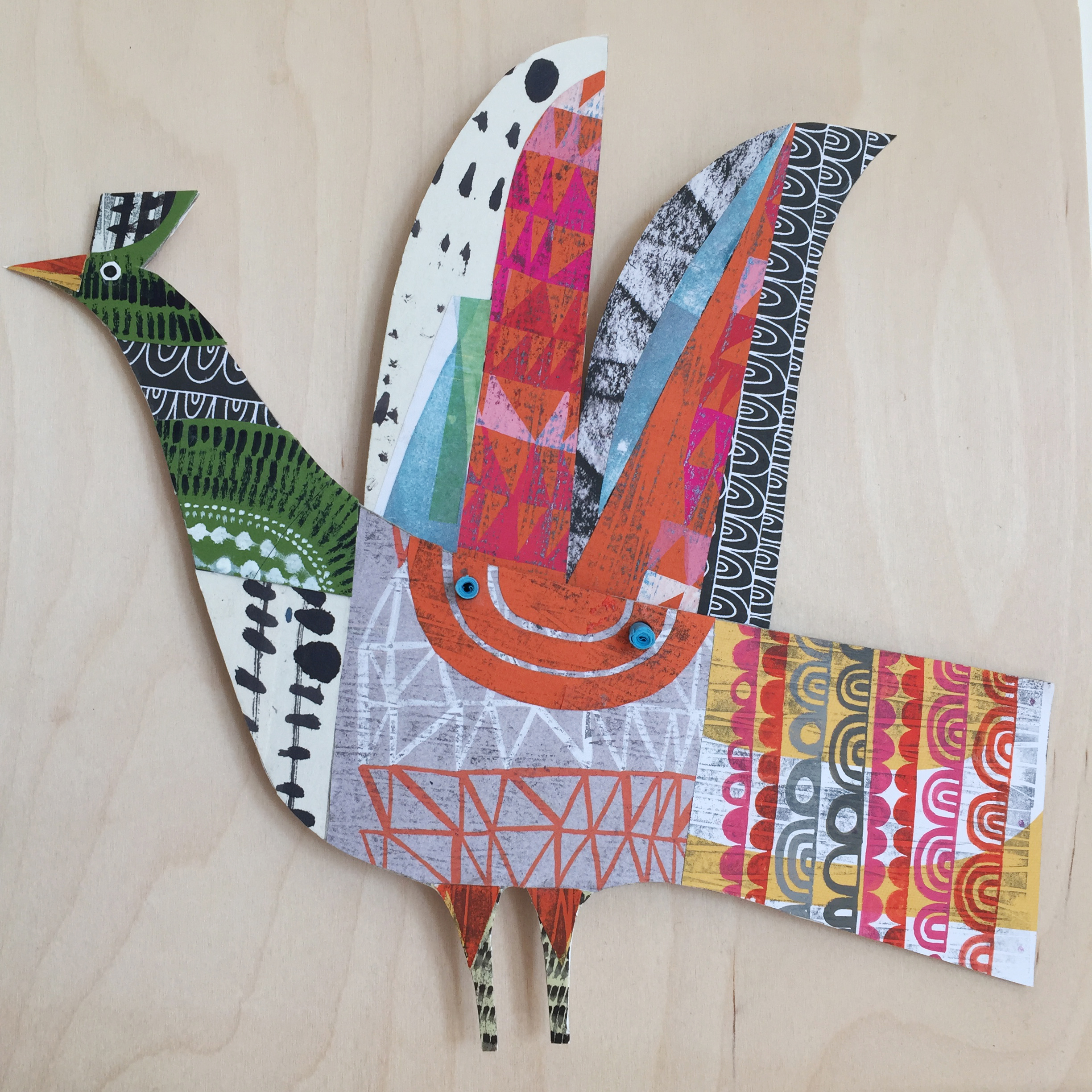 mythical bird   original cut out articulated collage. commissions taken
