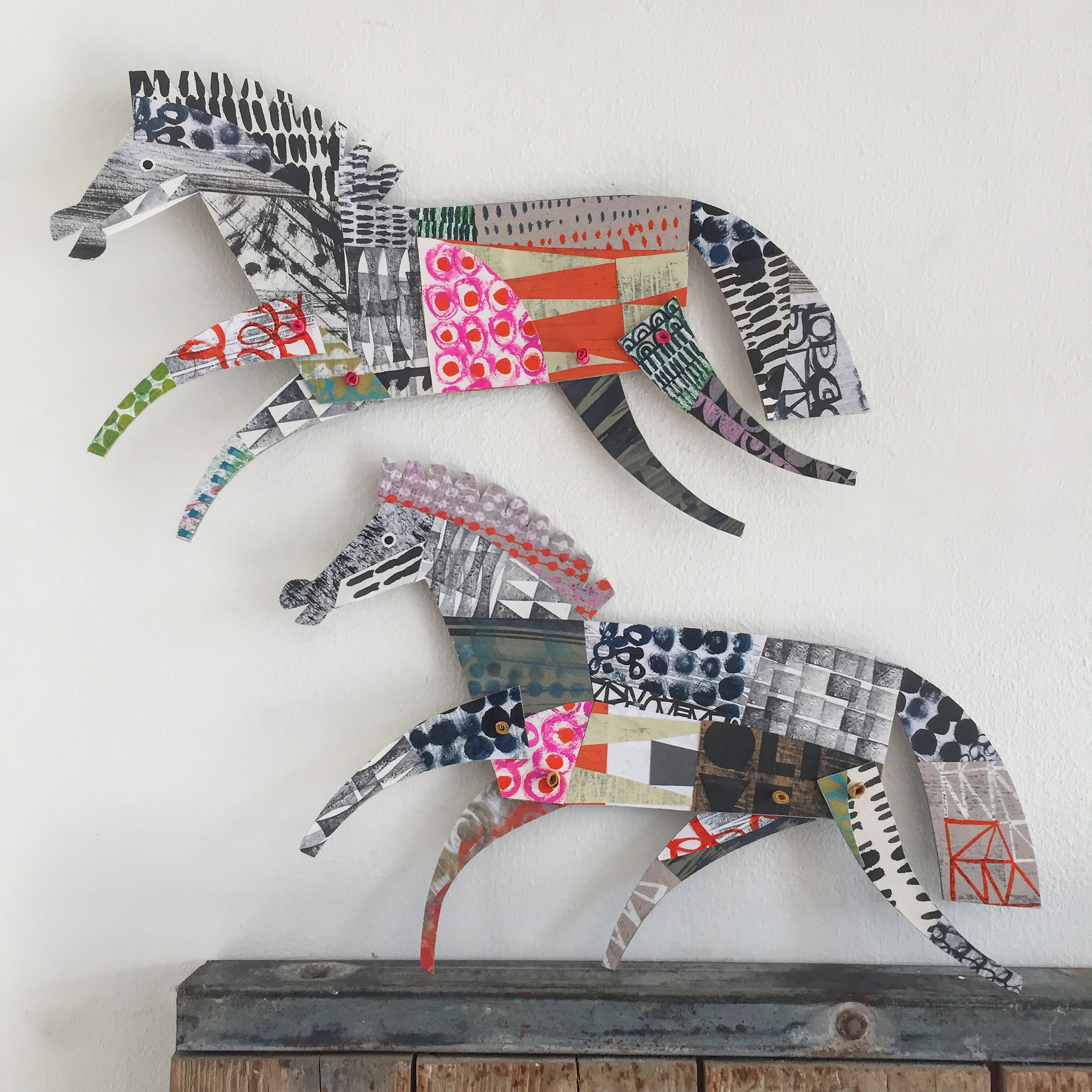 two horses   original cut out articulated collage