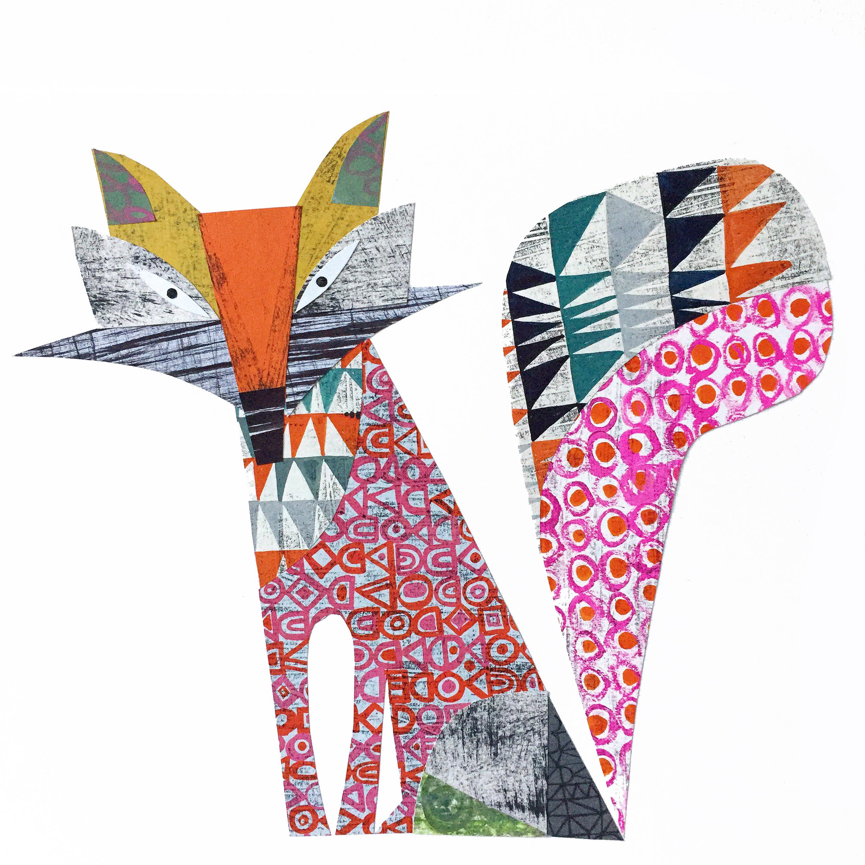 cunning fox     original collage