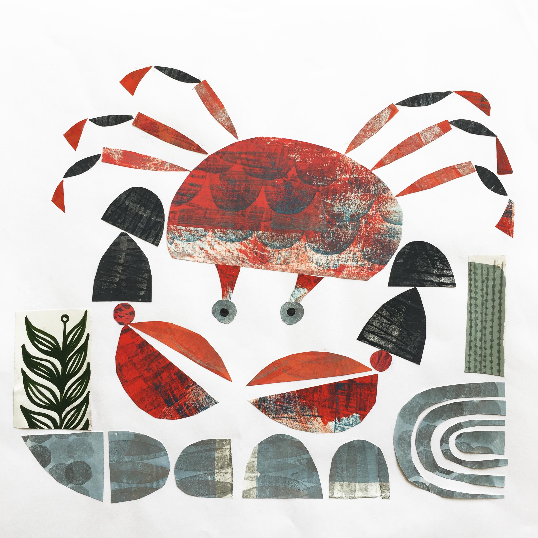 rockpool crab   original collage