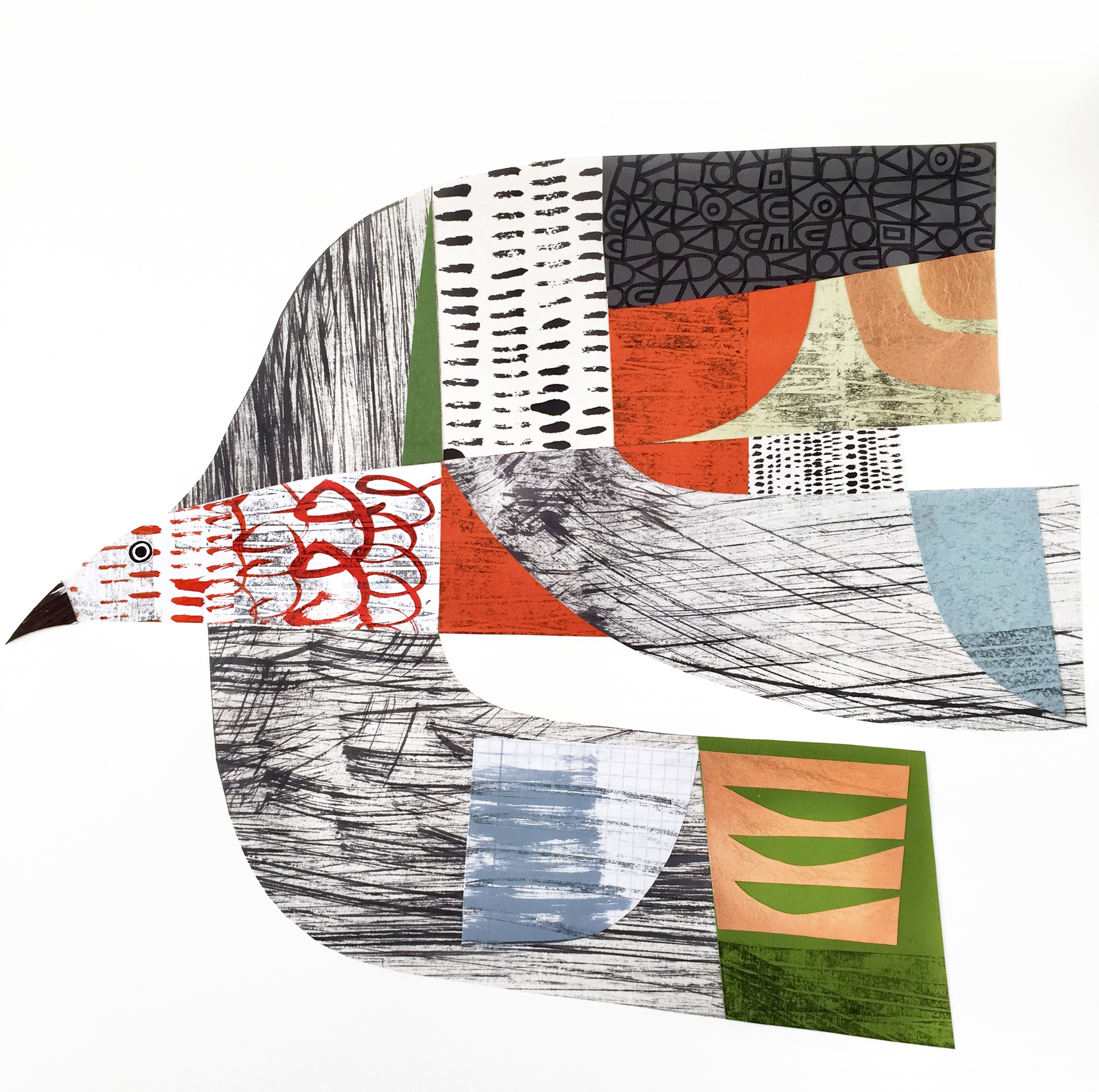 bird on the wing   original collage. commissions taken