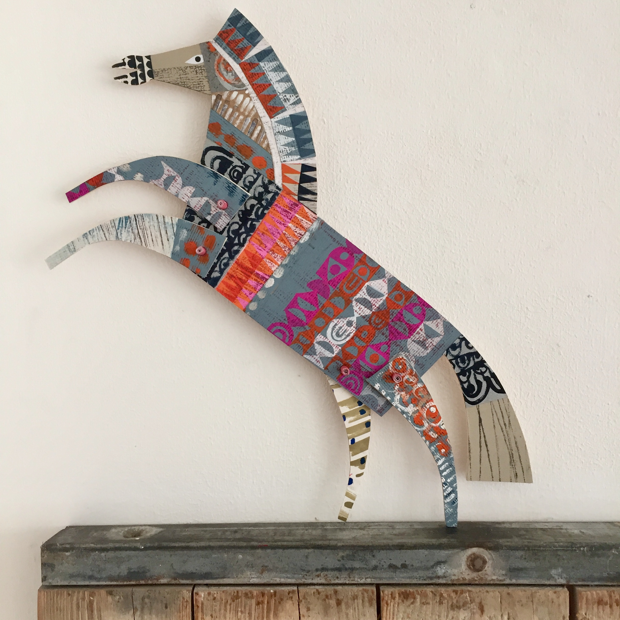 articulated leaping horse      original cut out articulated collage