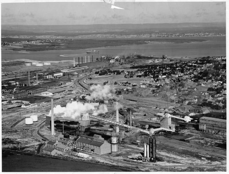 Old aerial shot of Whitney Pier