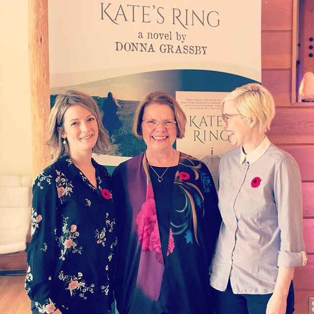 Donna Grassby and @dalagirls sharing a moment at the book launch today.  #canadianauthor #katesringbook #donnagrassby #booklaunch