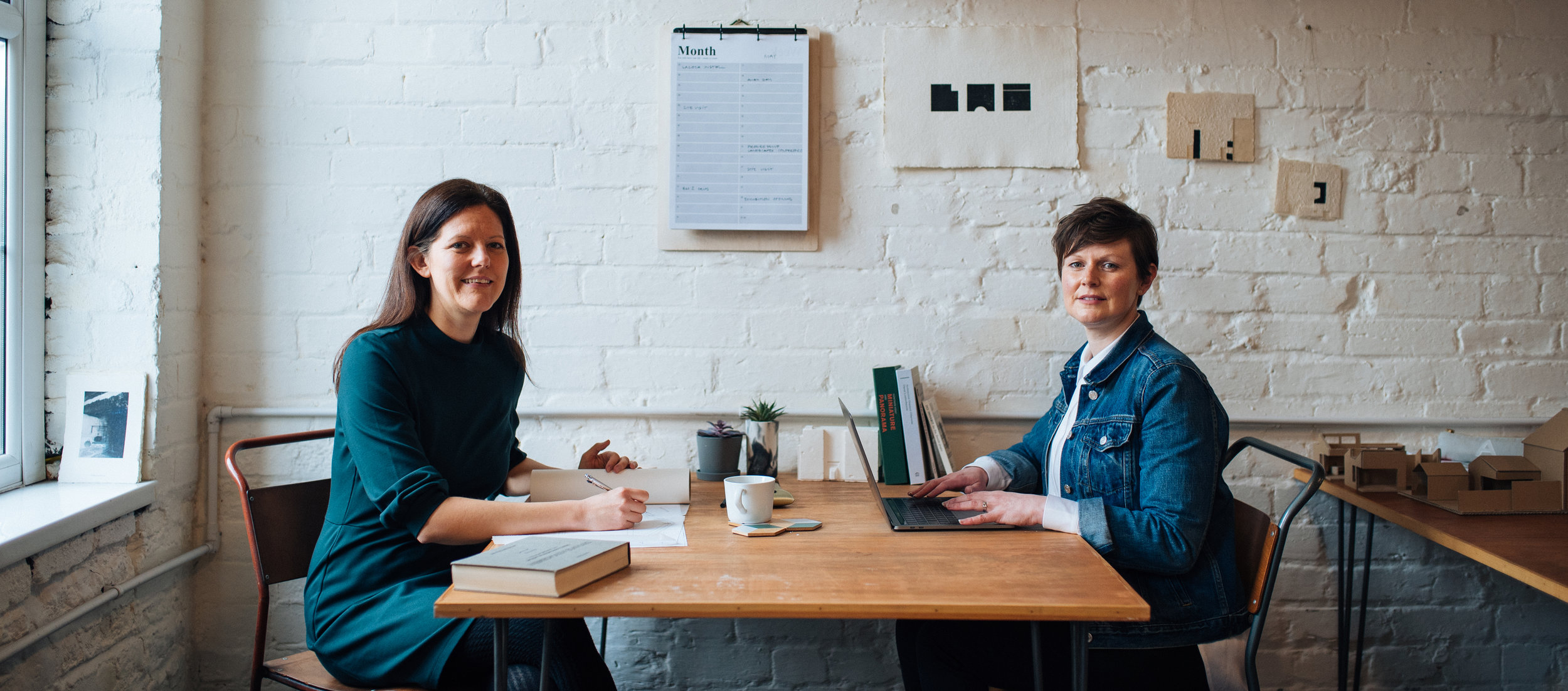 Rhian Thomas and Amanda Spence, architects and partners at ALT-Architecture, Cardiff, at work in the studio
