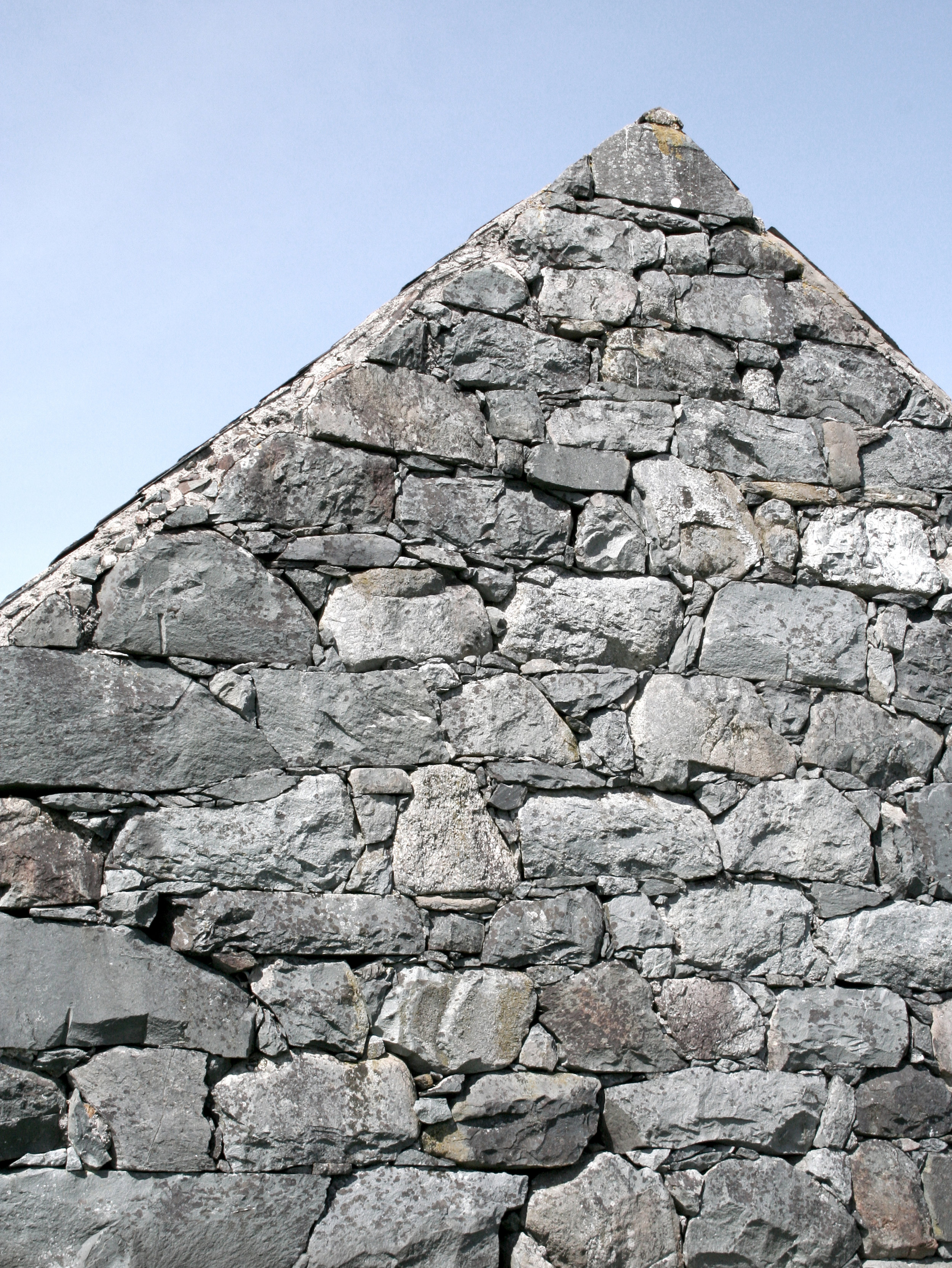 Stone gable of traditional/vernacular Welsh architecture, demonstrating Building Simply