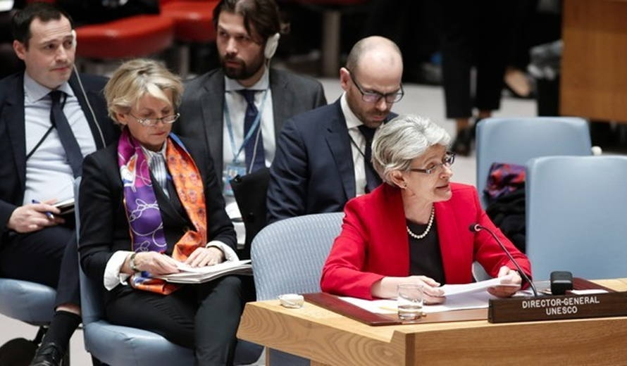UNESCO Director General, Irina Bokova, addressing the United Nations Security Council in connection with their adoption of Resolution 2347 (24 March 2017). @UNESCO