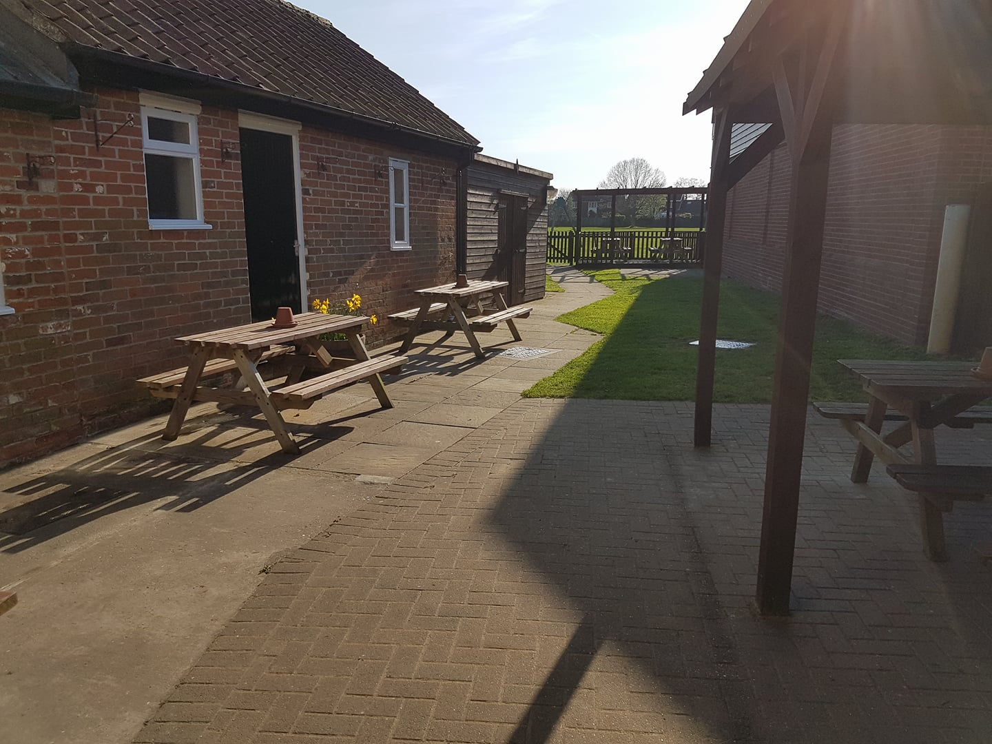 Our beer garden provides a great place to relax or even watch the children on the playing field while enjoying a drink!