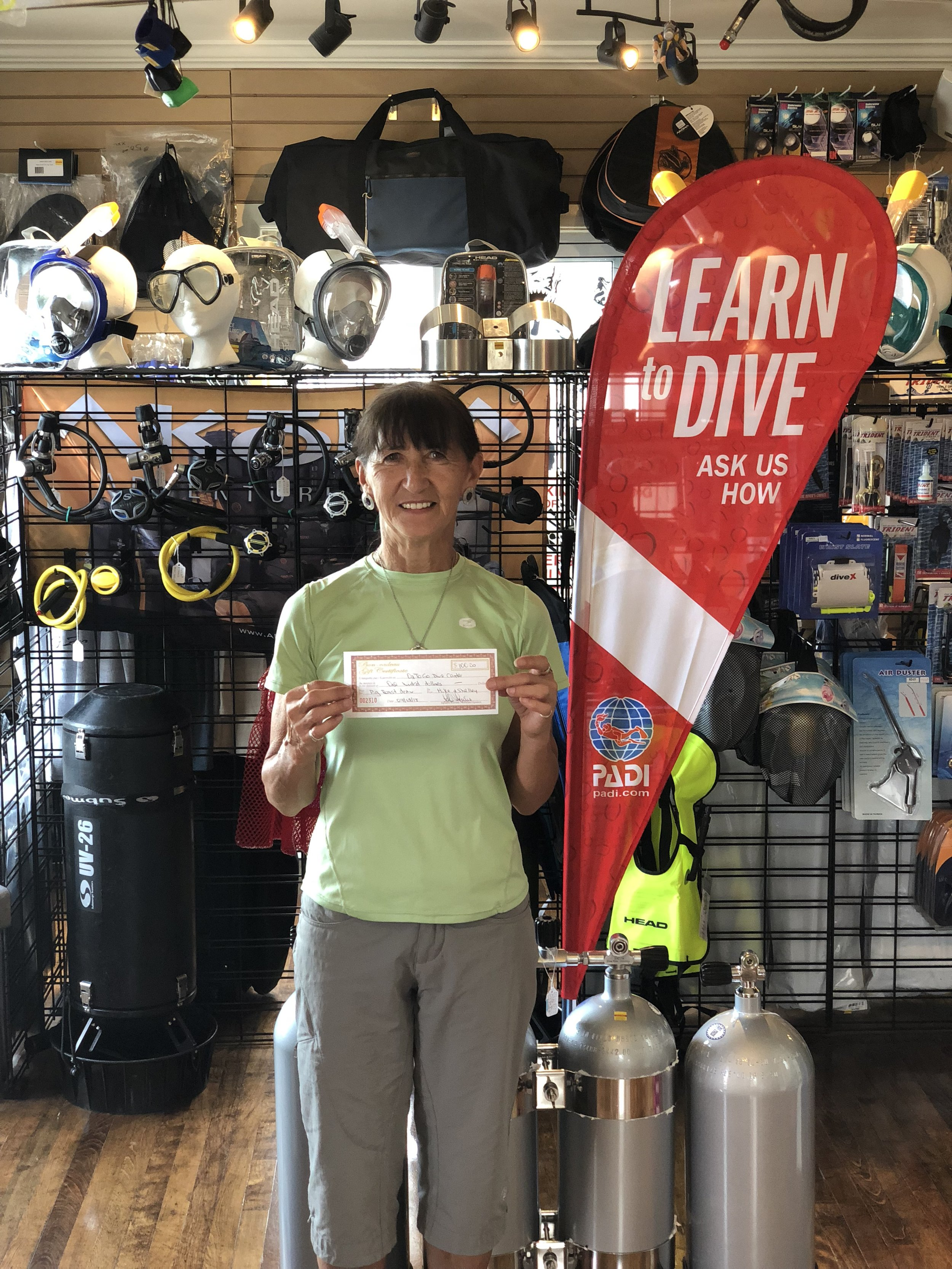 Winner of $100 Gift Card for O2ToGo Dive Centre