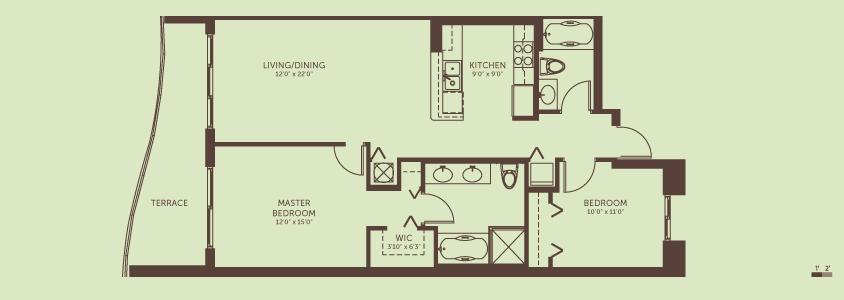 2 Bedrooms / 2 Bath   Living / Dining Room: 12.0′ x 22.0′  Kitchen: 9.0′ x 9.0′  Master Bedroom: 12.0′ x 15.0′  Bedroom 2: 10.0′ x 11.0′  Total Living Space: 1,089 square feet