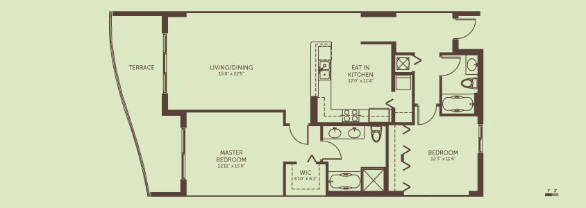 2 Bedrooms / 2 Bath   Living / Dining Room: 15.0′ x 22.9′  Eat In Kitchen: 12.0′ x 11.4′  Master Bedroom: 12.11′ x 15.0′  Bedroom 2: 12.3′ x 11.6′  Total Living Space: 1,334 square feet