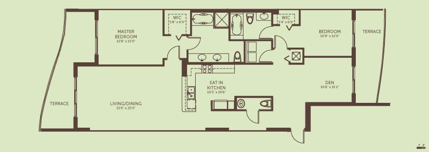 2 Bedrooms + Den / 2.5 Baths    Living / Dining Room: 15.0′ x 25.0′  Den: 10.6′ x 11.2′  Eat In Kitchen: 10.5′ x 19.6′  Master Bedroom: 12.8′ x 15.0′  Bedroom 2:  10.8′ x 12.0′  Total Living Space: 1,711 square feet