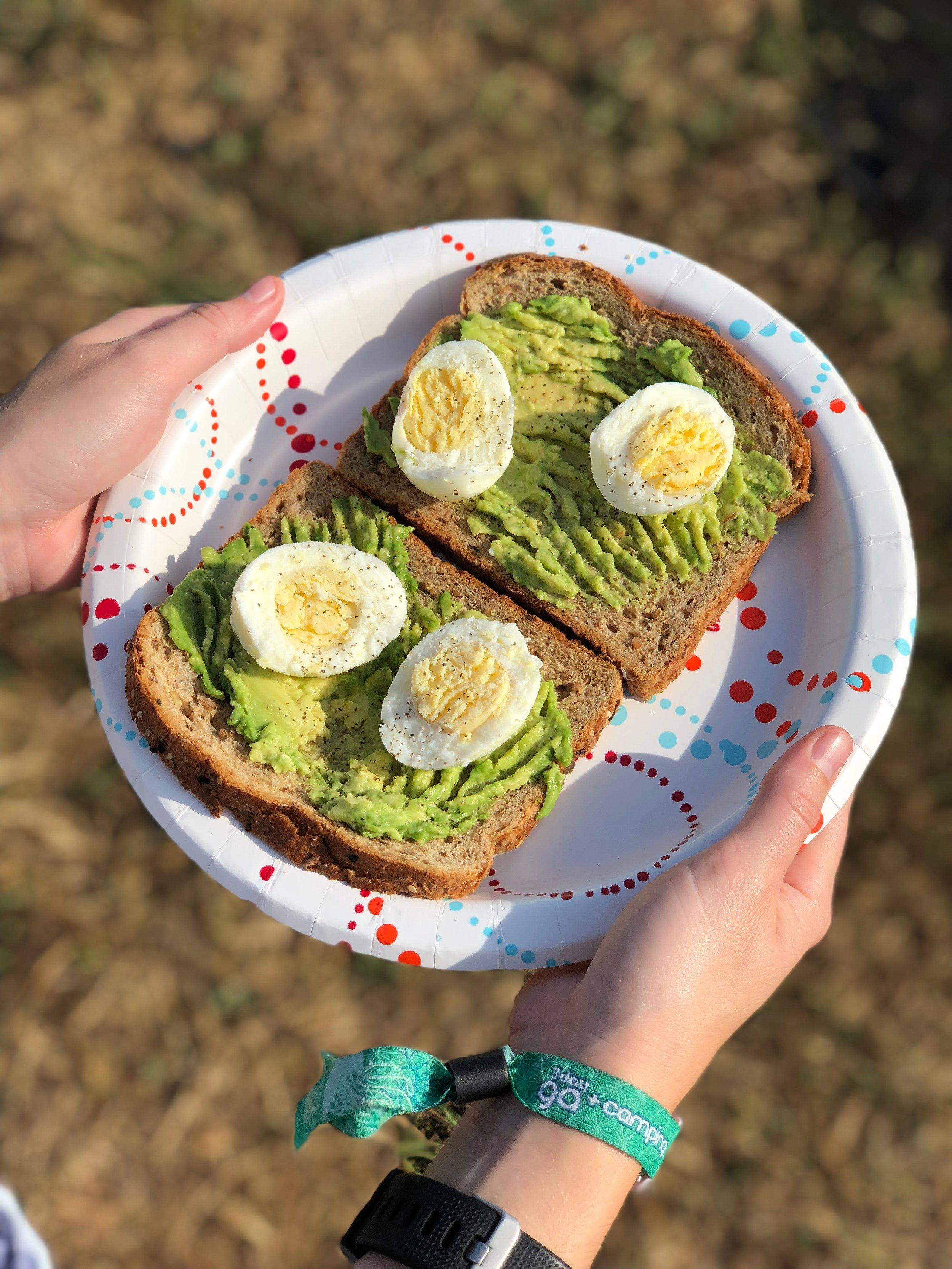 Whole grain bread, avocado, hard boiled eggs