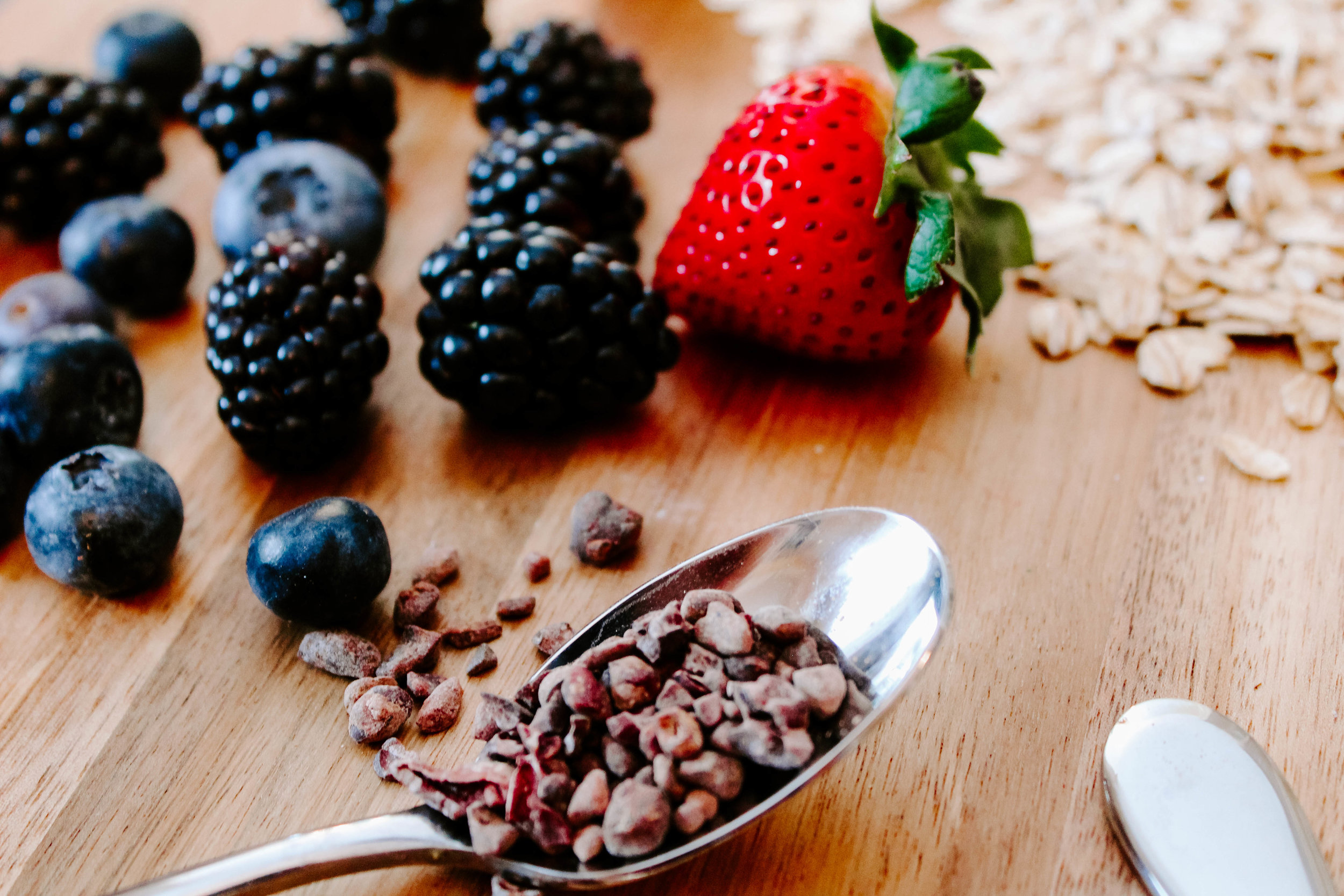 Antioxidant rich blueberries, blackberries, strawberries and cacao nibs!