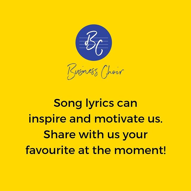 Song lyrics have been credited to many inspirations or motivations by many different people.⠀ Sometimes a good lyric can be like a wave to ride on for a period of your life.⠀ What lyric is inspiring or motivating you right now?⠀ ⠀ #songlyrics #inspiredbylyrics #bristolchoir #bristolnetworking #bristolbusiness #businesschoir