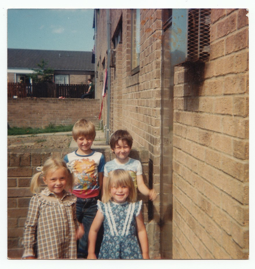 George Clarke (top left), George's sister Sam (bottom left), with two neighbours