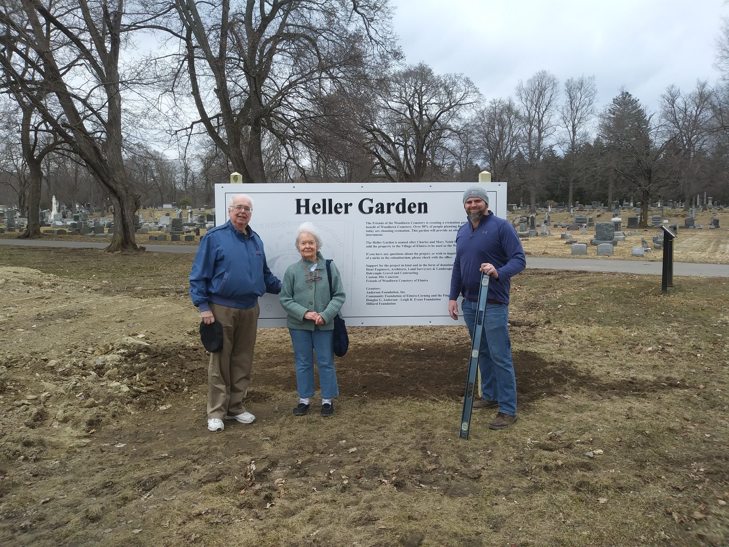 Laying the ground work for Heller Garden. Pictured are James Hare (member of Friends of Woodlawn Cemetery) and Susie Heller (sister to Hatsy Heller).