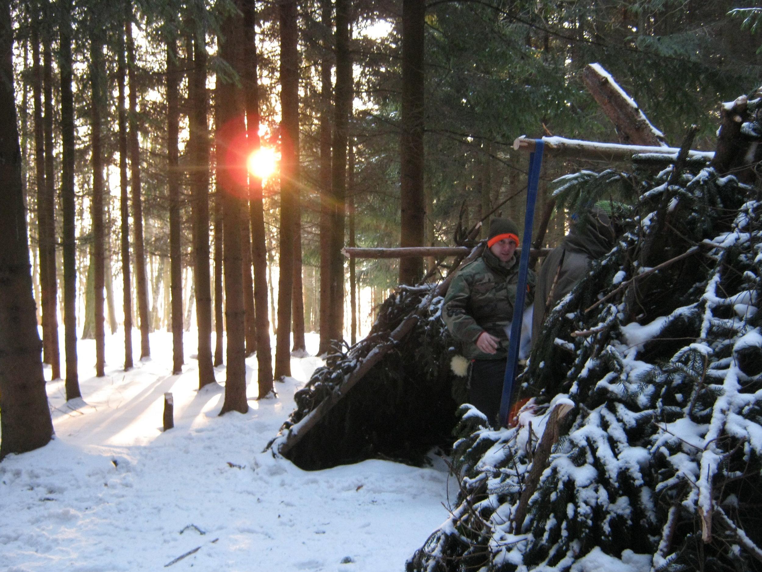 Morgenstimmung beim Wintersurvival