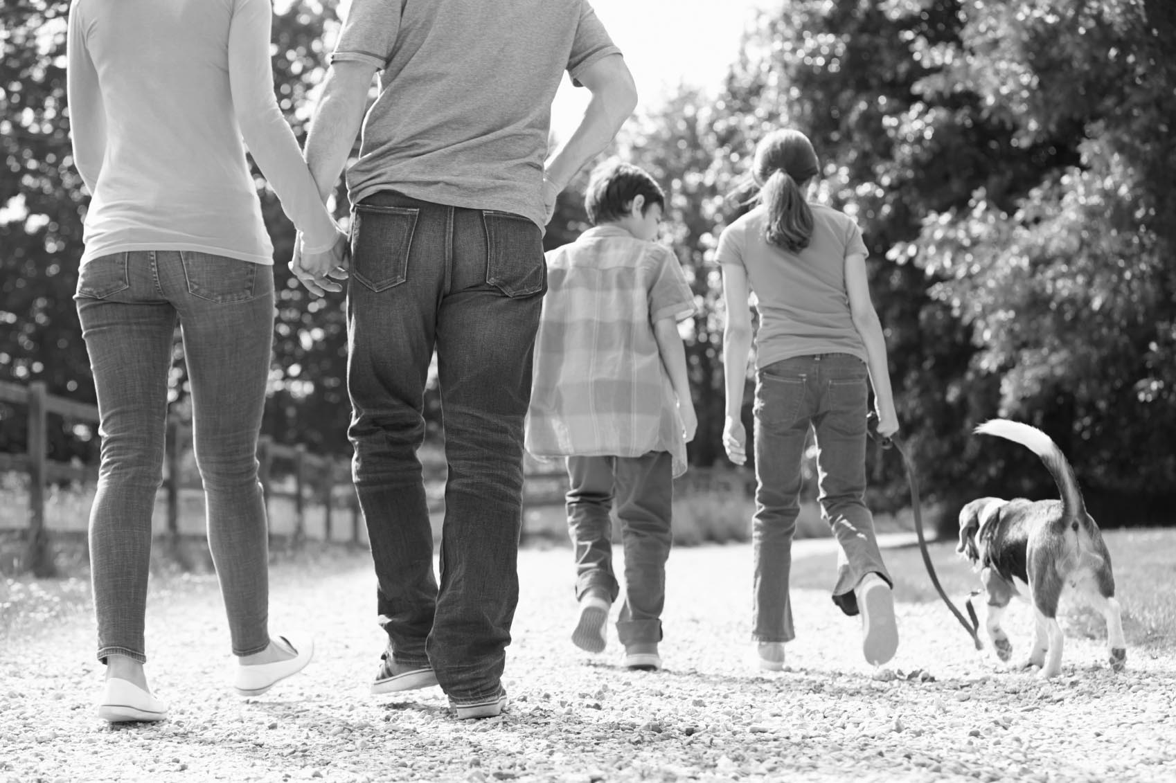 A family walking  improved overall health  natural health