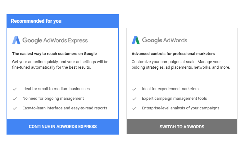 adwords vs adwords express.png