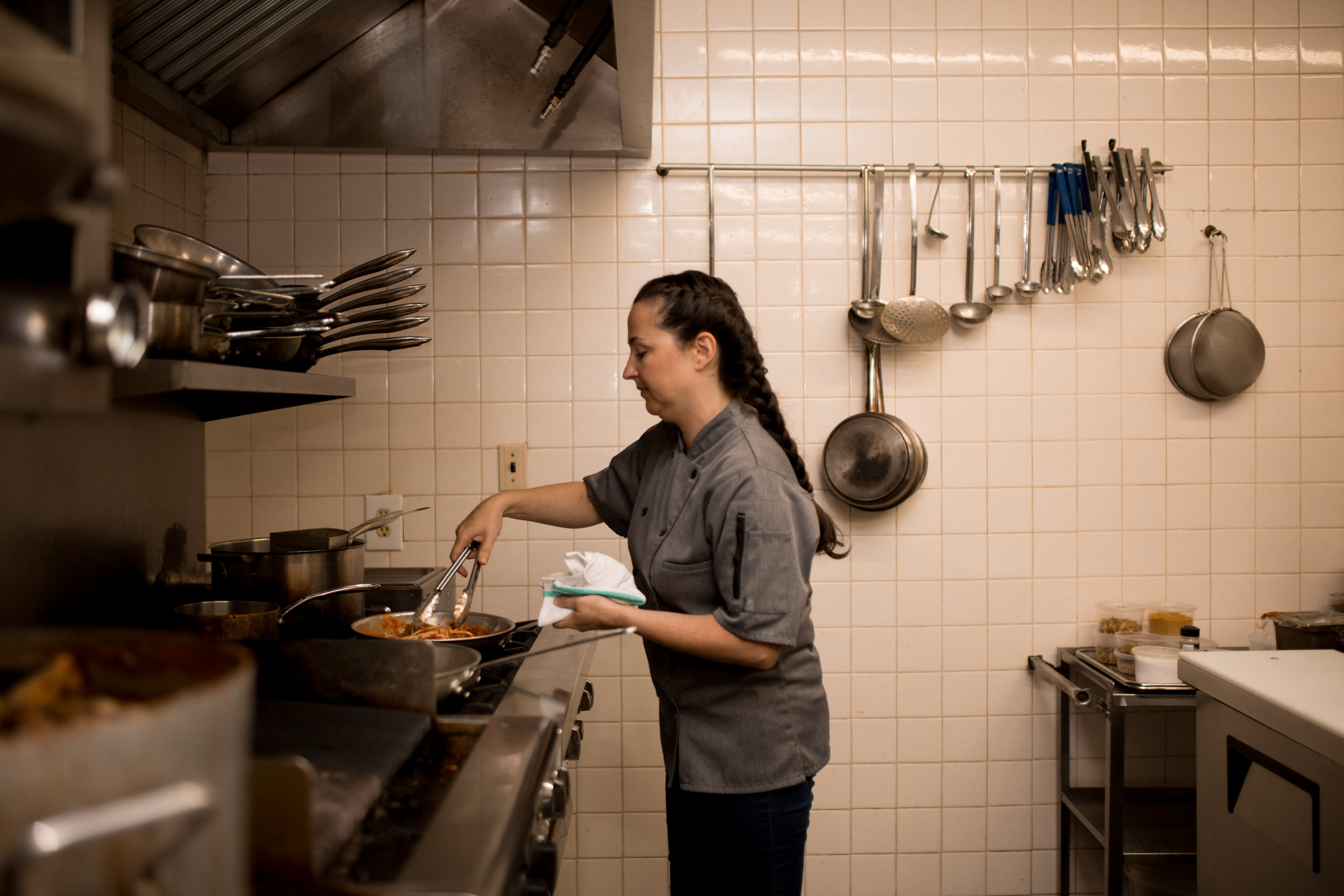 Chef Noelle Barone prepares Eggplant 'meatballs' at  Highview Food & Drink