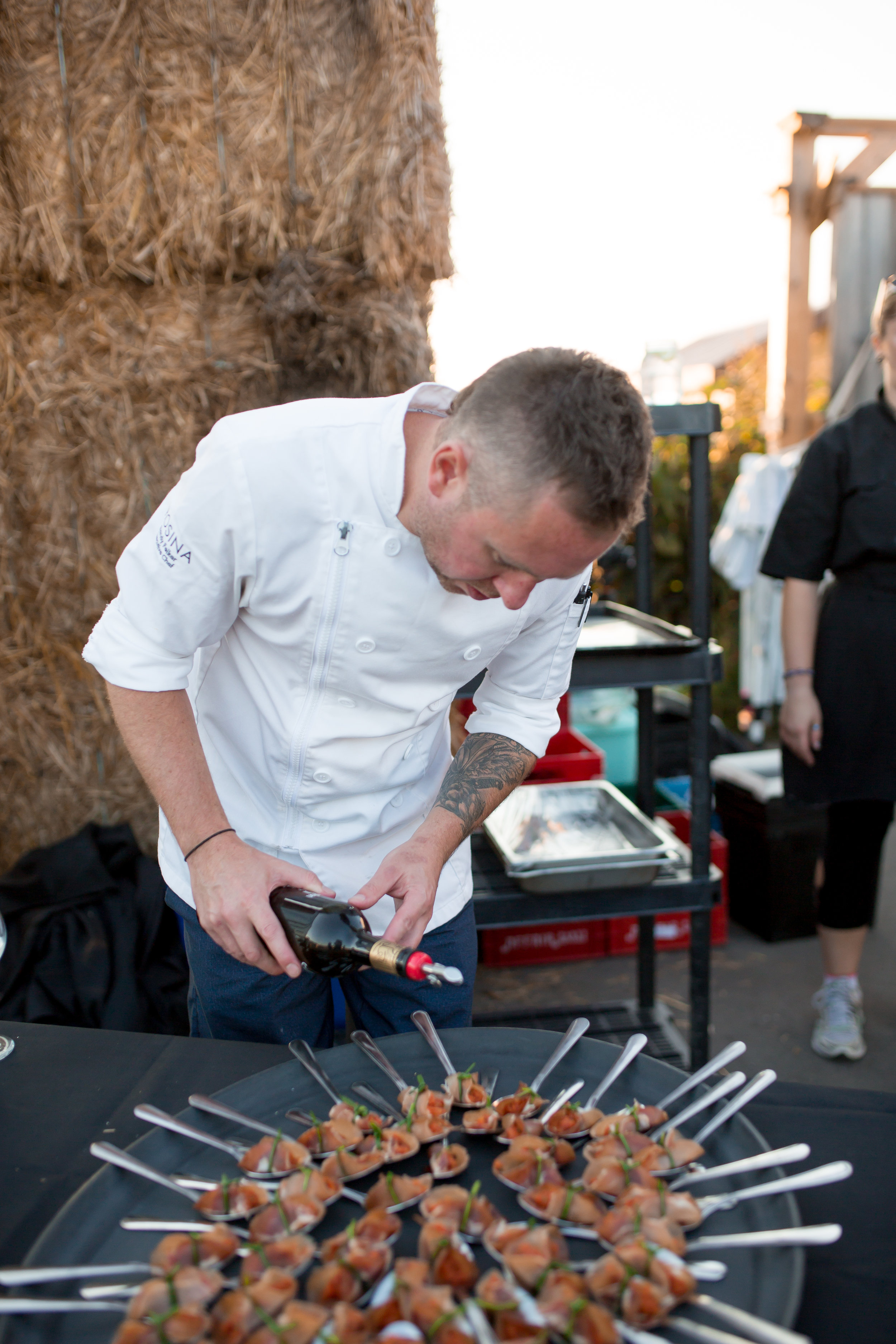 Rosina 's Chef Randy Felker prepares Lonza wrapped Tomato Tartar for  Farm to Table 3.0, An Evening at Hi-Berry Farm