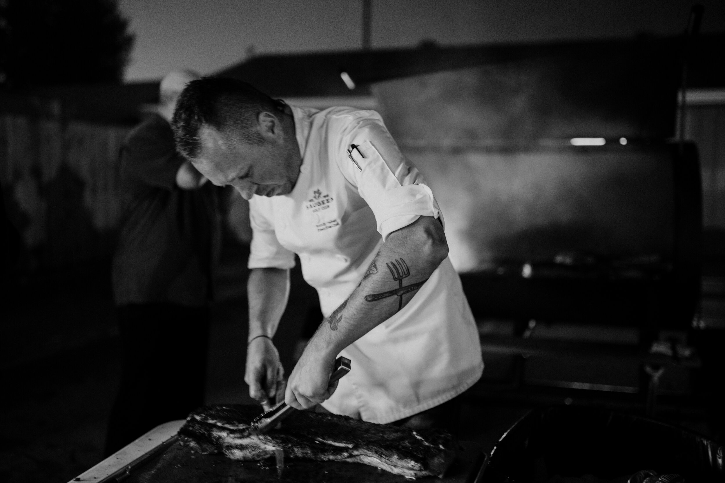 Chef Randy Felker of  Saugeen Golf Club  prepares Charcoal Roaster Pork Loin at  Farm to Table 4.0