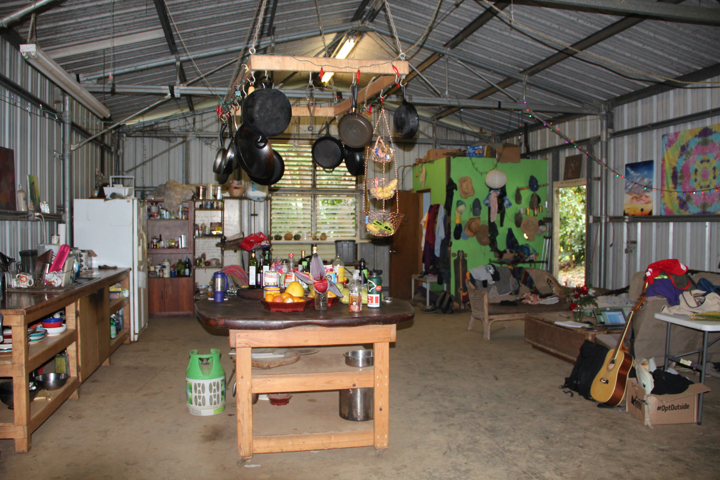 The community space in our warehouse where our apprentices hang out and cook meals.