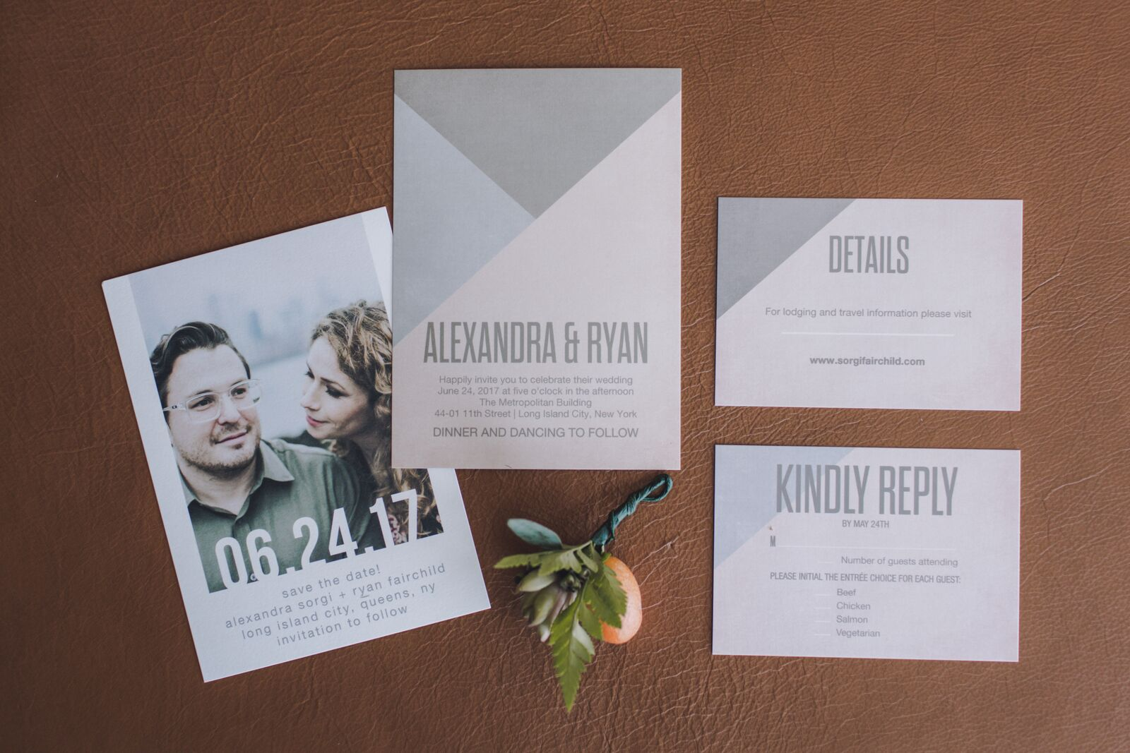 Ryan and Alex Industrial Metropolitan Building Long Island City Bride and Groom Couple Sustainable Eco-friendly wedding celebration invitations