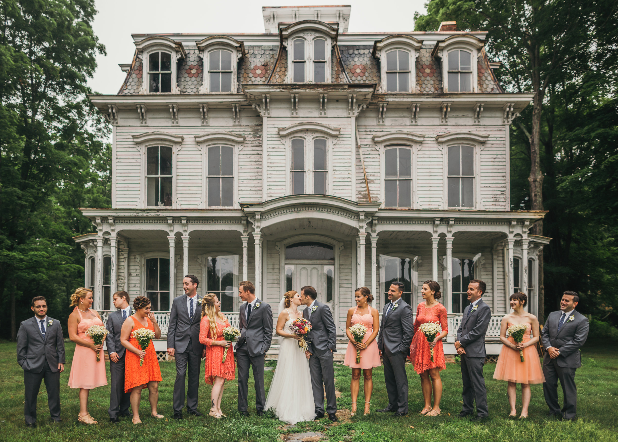 Wedding Party portrait in front of a beautiful historic building at Waterloo Village