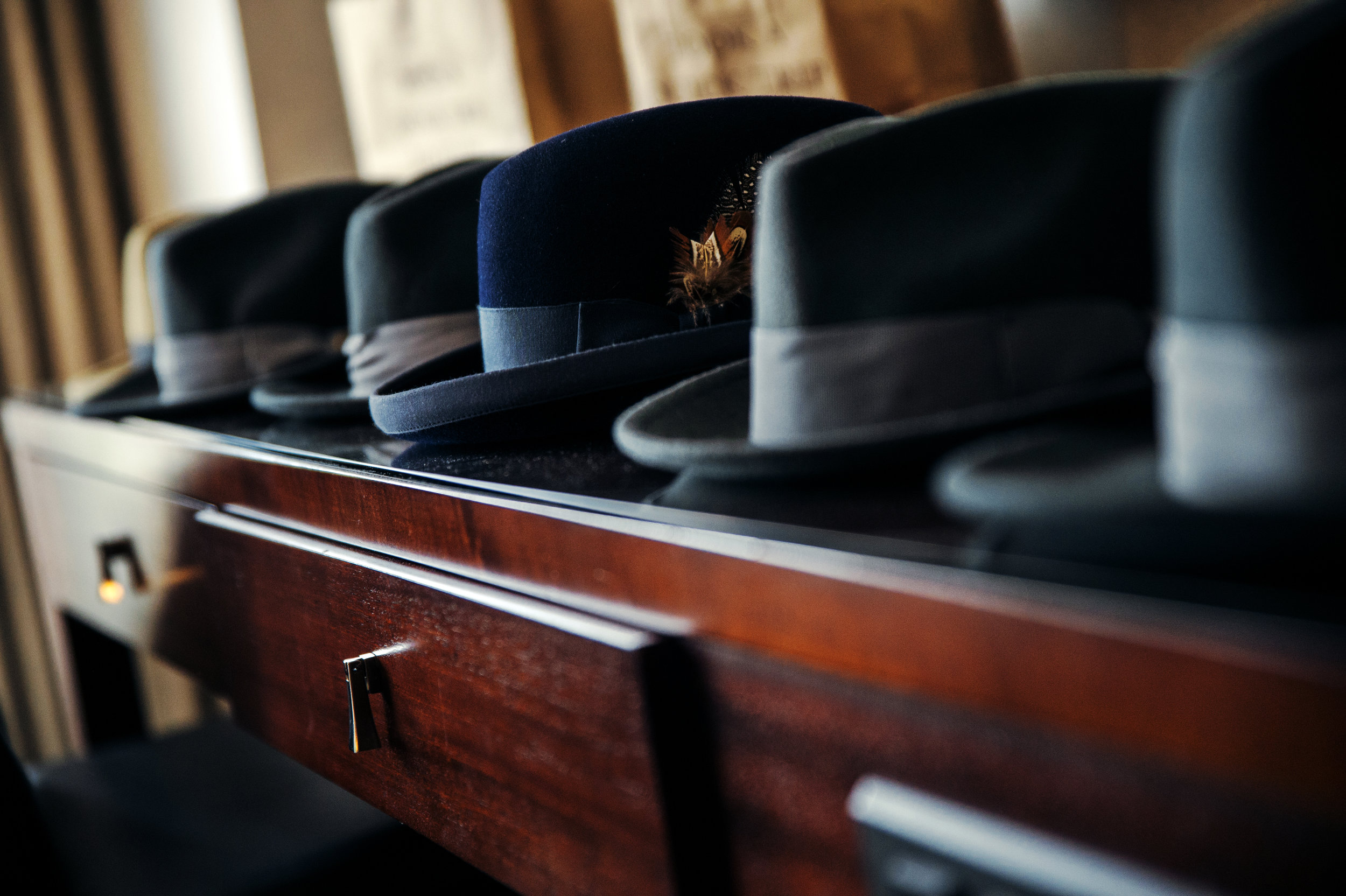Groom 20's Inspired velvet fedora hats at the historic Loew's Theater in Jersey City