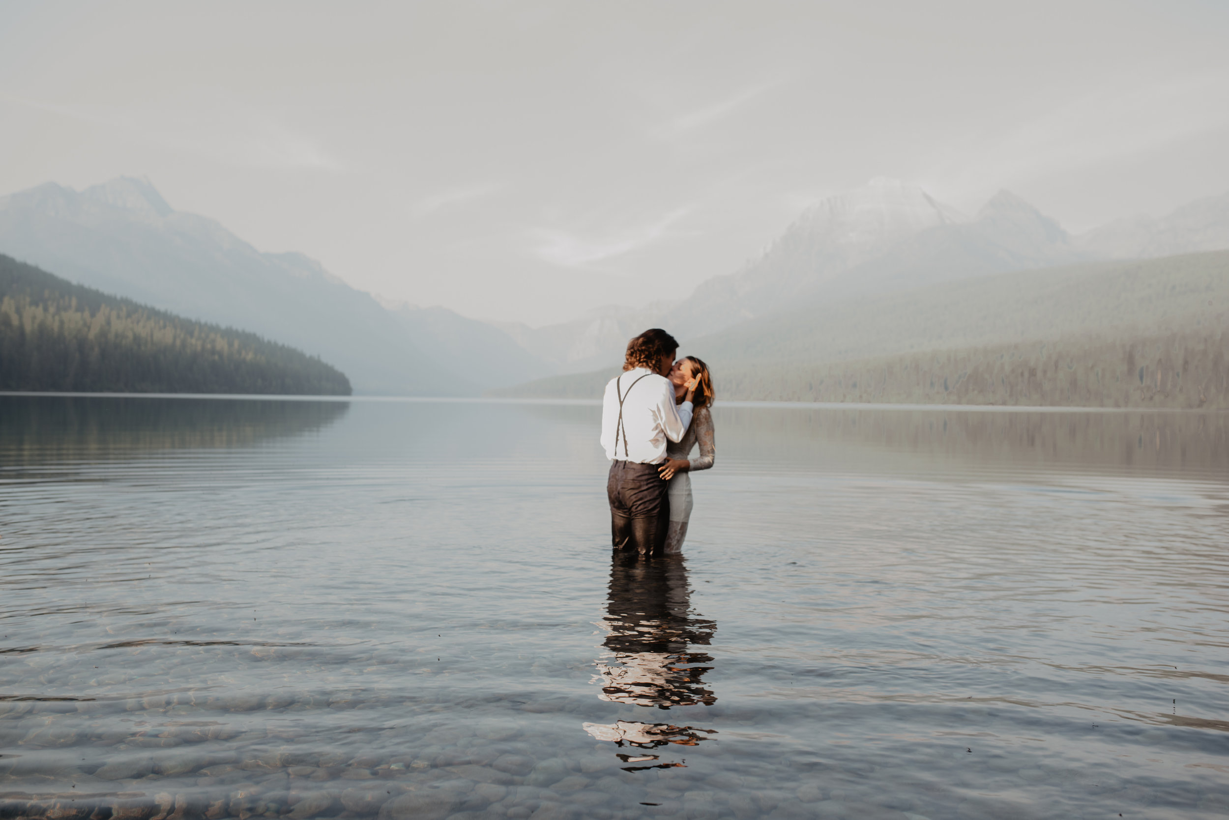 Hudson and Makayla Glacier National Park MT Renewable and Sustainable Outdoor Lake Elopement Couple